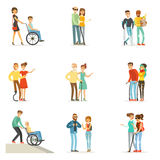 Help and care for disabled people set for label design. Cartoon detailed colorful Illustrations. Isolated on white background Royalty Free Stock Photo