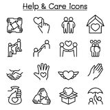 Help, care, Friendship, Generous & Charity icon set in thin line Royalty Free Stock Images