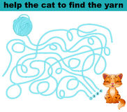 Help the cat to find the yarn Stock Image
