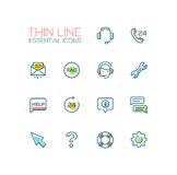 Help Center - Thin Single Line Icons Set Royalty Free Stock Photo