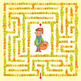 Help the character to find a way out of the maze. Help the boy find a way out of the woods. Maze Game with Solution. Funny cartoon character. Tangled lines Stock Images