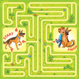 Help the character to find a way out of the maze. Help the dog to find the right way and hug the owner. Maze Game with Solution. Tangled lines. Funny cartoon Stock Photography