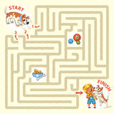 Help the character to find a way out of the maze. Help the dog to find the right way and hug the owner. Maze Game with Solution. Tangled lines. Funny cartoon Stock Images