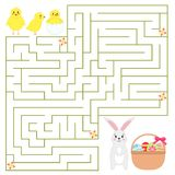 Help chickens find way to Easter bunny with Easter eggs in the basket. Cute cartoon characters: chickens, Easter rabbit with Easter eggs in the basket Stock Images