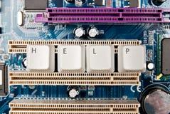 Help on circuit board Stock Photo