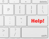 Help. Close up view on conceptual keyboard button - Help, 3d rendering Royalty Free Stock Images