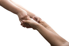 Help concept hand reaching out for help isolated i. N white background royalty free stock photos