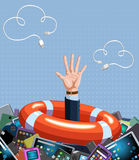 Help concept. Man is drowning in huge amount of various gadgets Royalty Free Stock Image