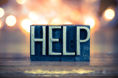 Help Concept Metal Letterpress Type Royalty Free Stock Images