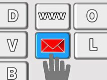 Help, contact with envelope on the keyboard Stock Photography