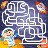 Help cosmonaut find path to rocket. Labyrinth. Maze game for kid Stock Images