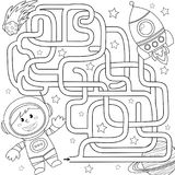 Help cosmonaut find path to rocket. Labyrinth. Maze game for kids. Black and white vector illustration for coloring book. Vector illustration Royalty Free Stock Image