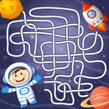 Help cosmonaut find path to rocket. Labyrinth. Maze game for kids. Vector illustration Royalty Free Stock Photography