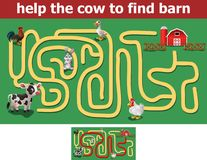 Help the cow to find barn. Illustration of Help the cow to find barn Royalty Free Stock Photos
