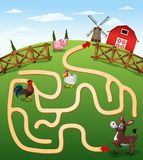 Help the cow to find the farm. Illustration of Help the cow to find the farm Royalty Free Stock Images