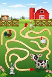 Help the cow to find the farm. Illustration of Help the cow to find the farm Stock Images