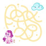 Help cute unicorn cub find the right path to cloud. Labyrinth. Maze game for kids. On white background. stock photo