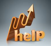 Help 3d business infographics. Arrows icon. Help 3d logo on the grey background. Arrows icon Stock Images