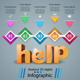 Help 3d business infographics. Help 3d idea on the grey background Royalty Free Stock Photo