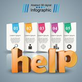 Help 3d business infographics. Help 3d idea on the grey background Royalty Free Stock Photos
