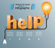 Help 3d business infographics. Help 3d logo on the grey background Stock Photo