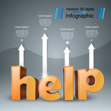 Help 3d business infographics. Help 3d logo on the grey background Stock Images