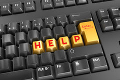 Help. 3d render. Help button keyboard Stock Image
