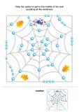 Help de spin om aan zijn plaats, labyrint voor jonge geitjes te krijgen Royalty-vrije Stock Foto