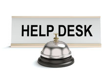 Help desk. 3D concept with help desk sign and bell on a white background Royalty Free Stock Photography