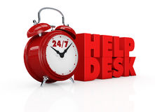 Help desk 24/7. One vintage alarm clock with text: 24/7 help desk, concept of always available (3d render Stock Photos