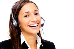 Help desk call center. Friendly call center secretary consultant woman with headset telephone and pretty smile Stock Images