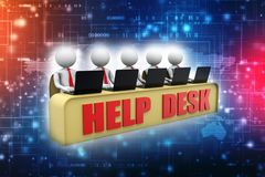 Customer Care Concept background. Help desk. 3d render royalty free illustration