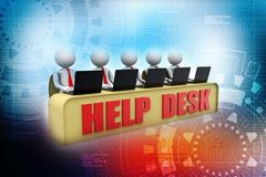 Help Desk Concept, 3D little human character in a Call Center. 3d render. Help Desk Concept, 3D little human character in a Call Center. Customer Care Concept stock illustration
