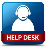 Help desk (customer care icon) blue square button red ribbon in. Help desk (customer care icon) isolated on blue square button with red ribbon in middle abstract Royalty Free Stock Photo
