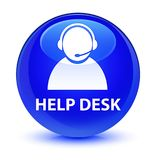 Help desk (customer care icon) glassy blue round button Royalty Free Stock Photos