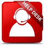 Help desk (customer care icon) red square button red ribbon in c. Help desk (customer care icon) isolated on red square button with red ribbon in corner abstract Stock Photography