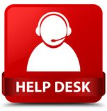 Help desk (customer care icon) red square button red ribbon in m Royalty Free Stock Image
