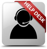 Help desk (customer care icon) white square button red ribbon in Stock Images