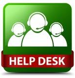 Help desk (customer care team icon) green square button red ribb Stock Photo