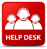 Help desk (customer care team icon) red square button. Help desk (customer care team icon) isolated on red square button abstract illustration Royalty Free Stock Photo