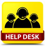 Help desk (customer care team icon) yellow square button red rib Stock Images