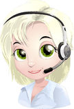 Help-desk. Girl technical support specialist of users royalty free illustration