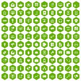 100 help desk icons hexagon green. 100 help desk icons set in green hexagon isolated vector illustration Royalty Free Stock Photos