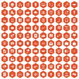 100 help desk icons hexagon orange. 100 help desk icons set in orange hexagon isolated vector illustration royalty free illustration
