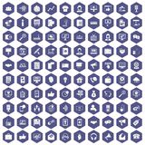 100 help desk icons hexagon purple. 100 help desk icons set in purple hexagon isolated vector illustration Royalty Free Stock Image