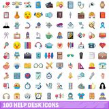 100 help desk icons set, cartoon style. 100 help desk icons set. Cartoon illustration of 100 help desk vector icons isolated on white background royalty free illustration