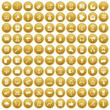 100 help desk icons set gold. 100 help desk icons set in gold circle isolated on white vectr illustration royalty free illustration