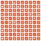 100 help desk icons set grunge orange. 100 help desk icons set in grunge style orange color isolated on white background vector illustration royalty free illustration