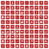 100 help desk icons set grunge red. 100 help desk icons set in grunge style red color isolated on white background vector illustration Vector Illustration