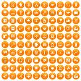 100 help desk icons set orange. 100 help desk icons set in orange circle isolated vector illustration vector illustration